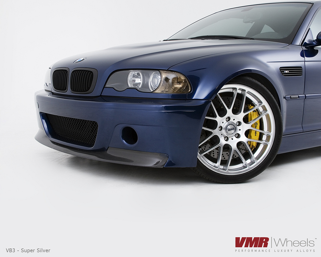 "VMR Wheels VB3 CSL Replica 19"" Silver on Blue E46 M3 close"