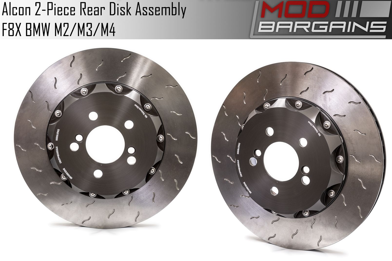 Rear Pair of Alcon 2 Piece Rotors for F8X BMW M Vehicles