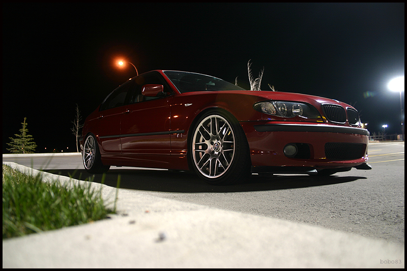 "VMR Wheels VB3 CSL Style 18"" Staggered Silver on red 330i"