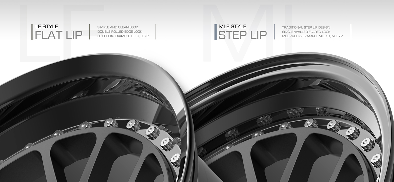 BC Forged LE Style Flat Lip MLE Style Step Lip Example