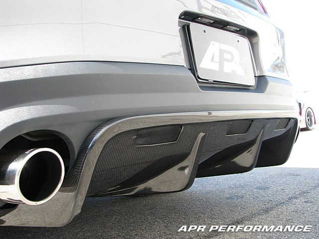 APR Performance Carbon Fiber Rear Diffuser Installed Left Rear Mustang AB-210019
