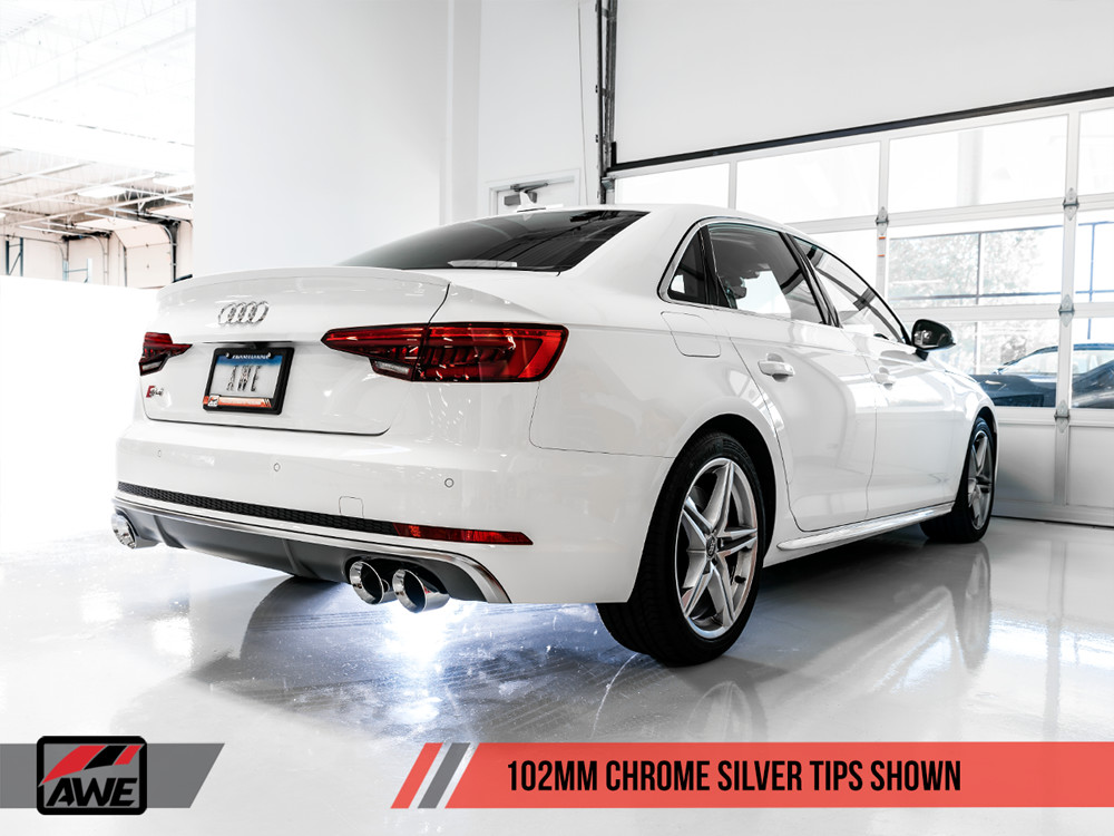 AWE Chrome Exhaust Tips 2016+ Audi B9 S4 V6 Turbo