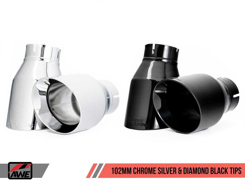AWE Exhaust Tips 102mm Chrome Diamond Black Options