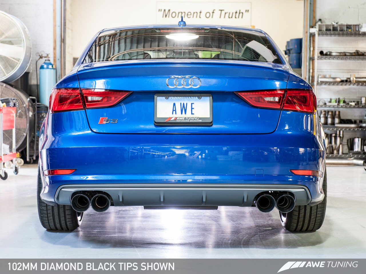 awe tuning track edition exhaust for 2015 16 audi s3 sedan. Black Bedroom Furniture Sets. Home Design Ideas