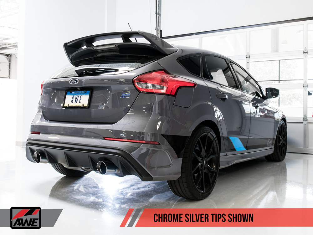 AWE 2016+ Ford Focus RS Track Edition Catback Exhaust Installed Chrome Silver Tips