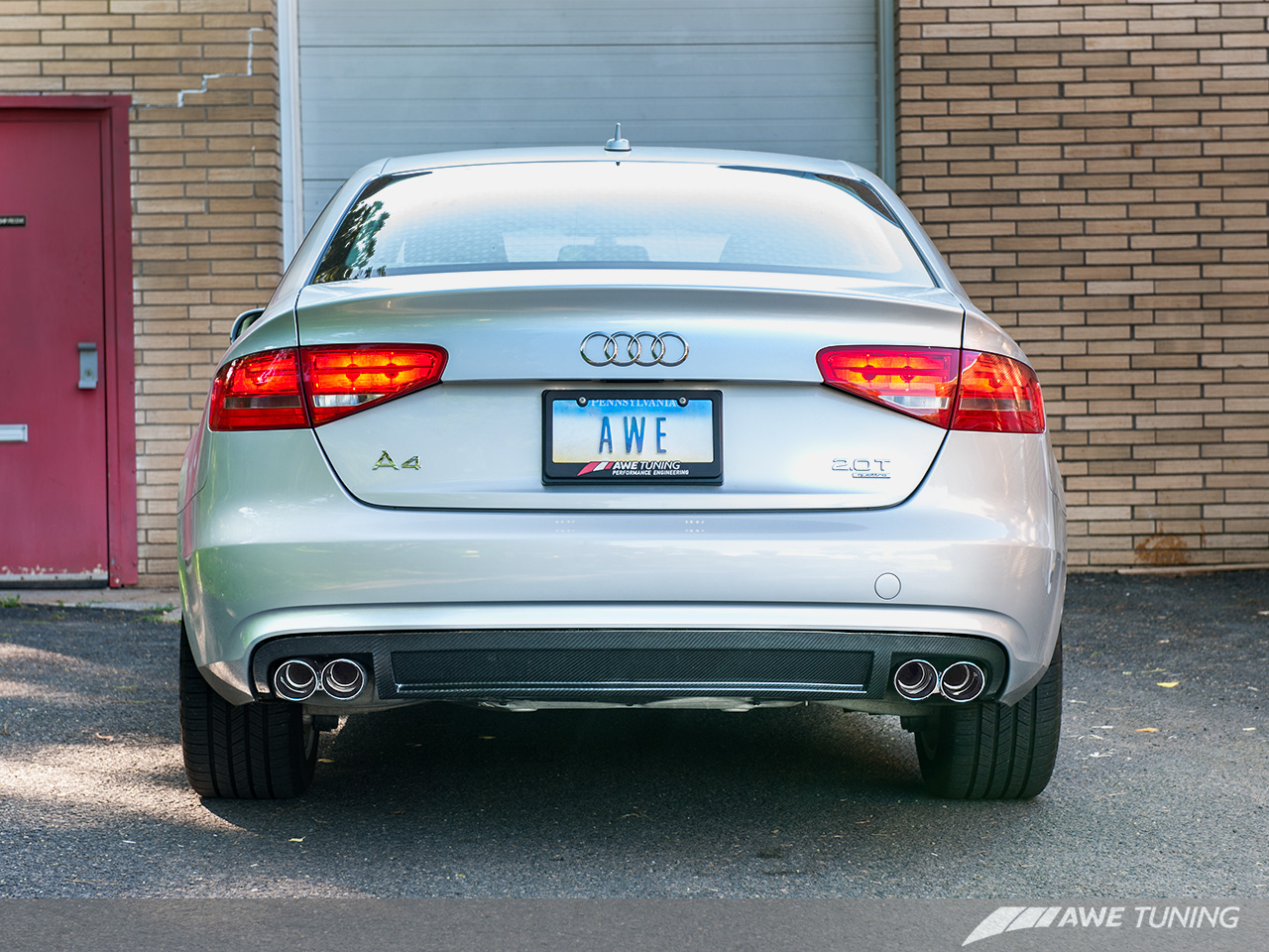 awe tuning cat back exhaust for 2013 2014 audi a4 b8 5 2. Black Bedroom Furniture Sets. Home Design Ideas
