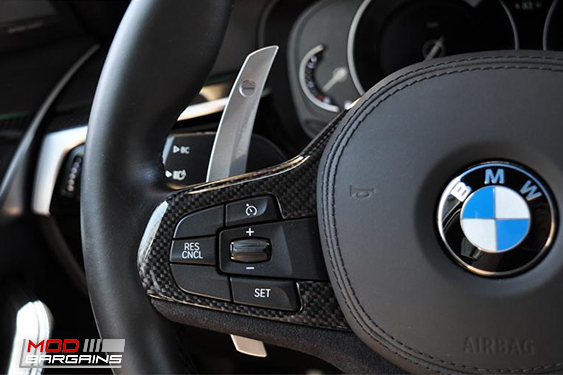 Competition steering shift paddles for G30 5-SERIES | G32 6-SERIES GT | F90 M5 vehicles. Autotecknic part number ATK-BM-0264-GB, Modbargains.