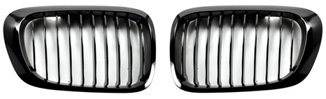Gloss Black Kidney Grilles for 1999-2006 BMW E46