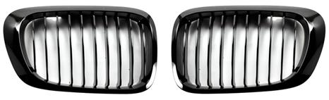 Gloss Black Kidney Grilles for 1999-2006 BMW E46