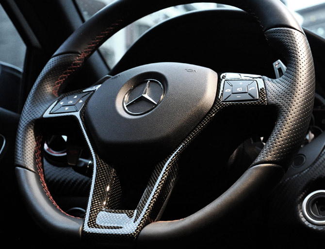 Carbon fiber steering wheel trim for mercedes benz for Mercedes benz steering wheel covers