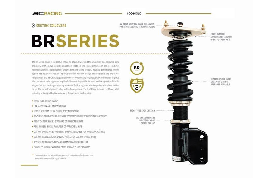 BC Racing Adjustable Coilovers BMW G30 5-Series 530i 540i Lowering