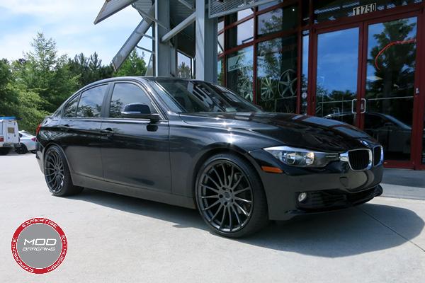 Beyern Aviatic 20 Inch Matte Gunmetal w/ Gloss Black Lip Wheels on BMW 3 Series 3/4 Front