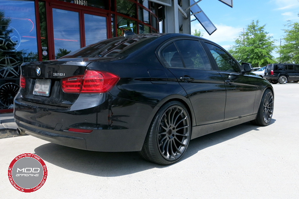 Beyern Aviatic 20 Inch Matte Gunmetal w/ Gloss Black Lip Wheels on BMW 3 Series 3/4 Rear
