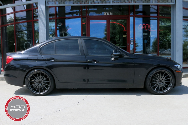 Beyern Aviatic 20 Inch Matte Gunmetal w/ Gloss Black Lip Wheels on BMW 3 Series Full View