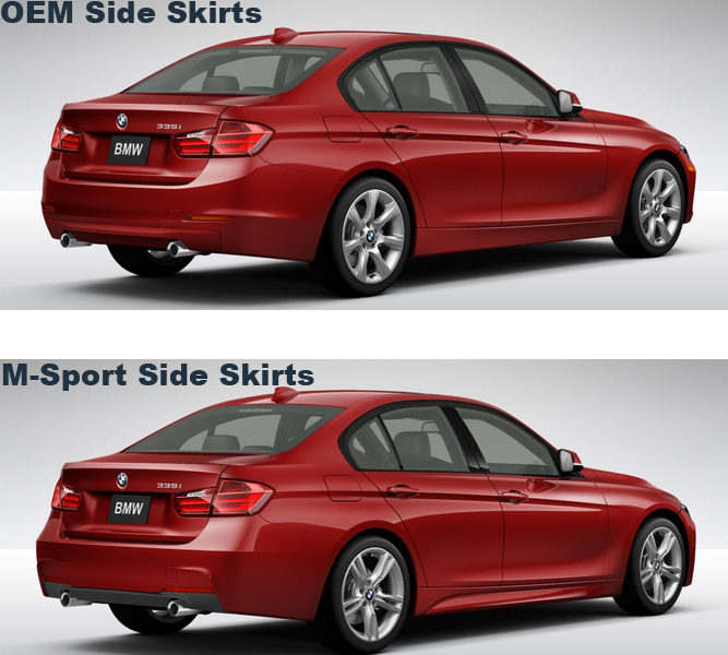 BMW F30 3-Series M-Sport Replacement Side Skirts at ModBargains.com Comparison