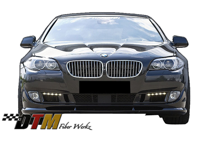 DTM Fiber Werkz BMW F10 2011-up HM Style Front Lip View 2