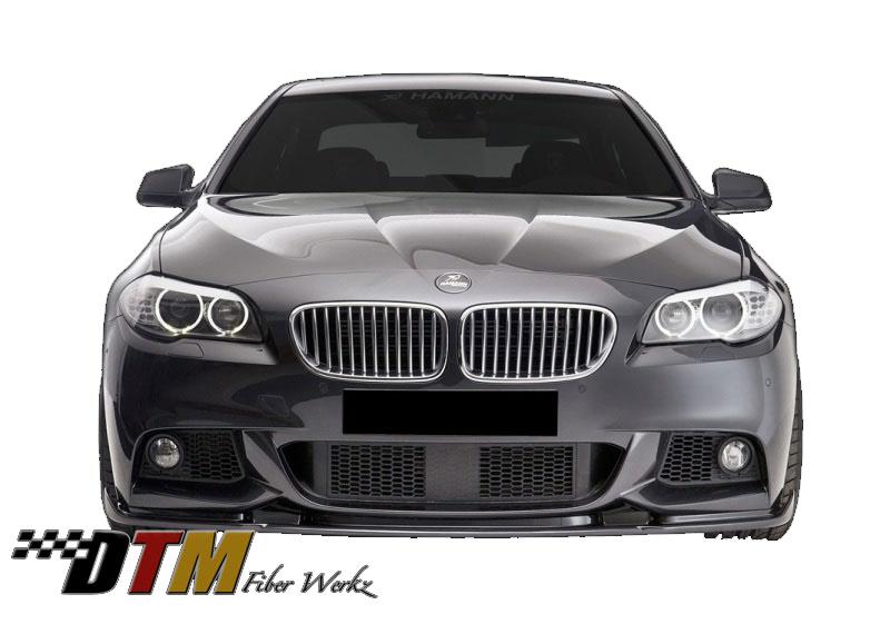 DTM Fiber Werkz BMW F10 2011+ Mtech Front Bumper HM Style Lip View 2