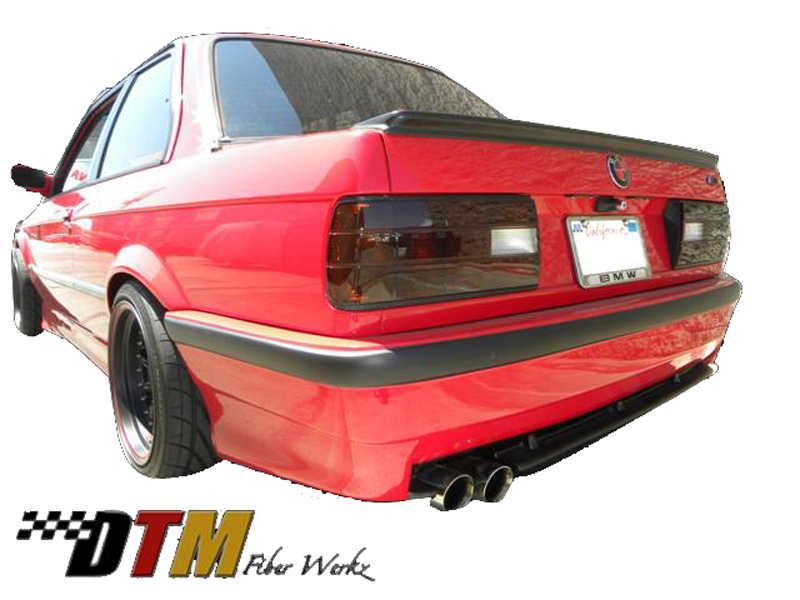 DTM Fiber Werkz E30 E36 M3 Style Rear Bumper Mounted 1