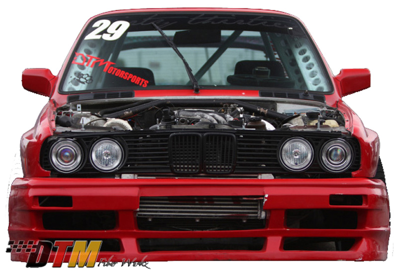 DTM Fiber Werkz BMW E30 RG GTS Style Front Bumper Mounted 2