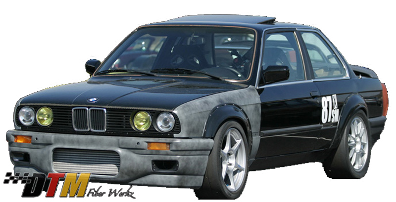 DTM Fiber Werkz BMW E30 2002tii Style Bolt On Fender Flares View 3