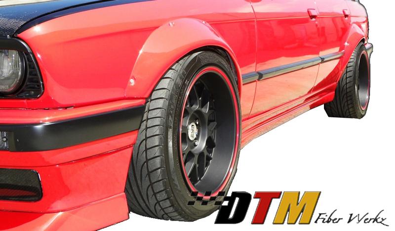 DTM Fiber Werkz BMW E30 Rivet On Fender Flares Mounted View 1
