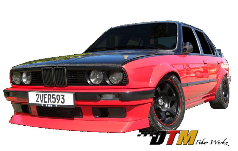 DTM Fiber Werkz BMW E30 Rivet On Fender Flares Mounted View 2