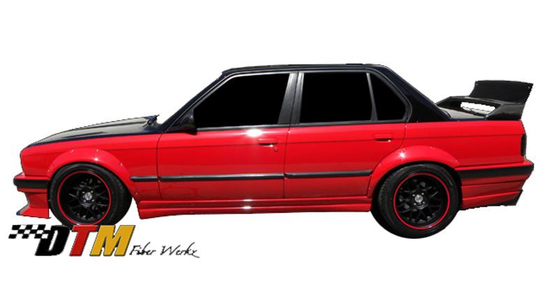 DTM Fiber Werkz BMW E30 Rivet On Fender Flares Mounted View 3