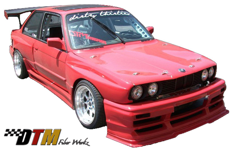 DTM Fiber Werkz BMW E30 Super Light Pin Down Style Hood in FRP