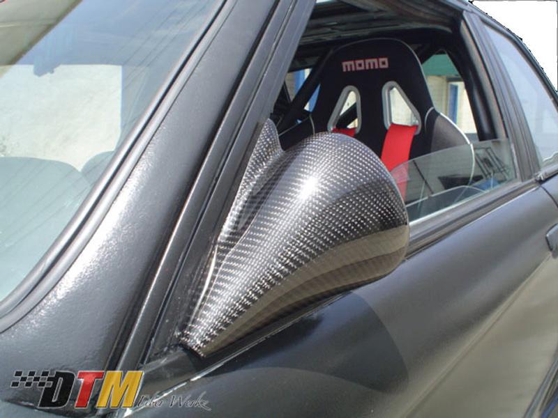 DTM Fiber Werkz BMW E30 DTM Style Non-Vented Carbon Fiber Mirrors 1