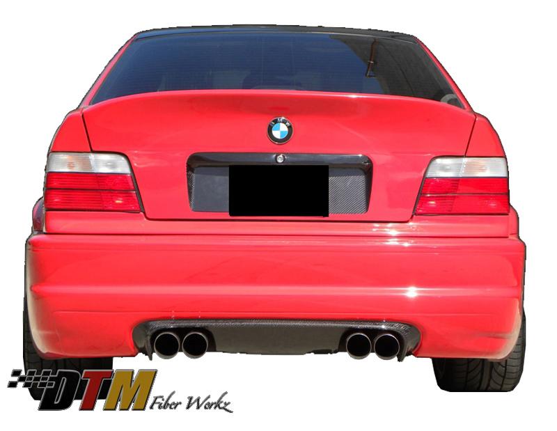 DTM Fiber Werkz BMW E36 to E46 CSL Rear Bumper W Diffuser View 1