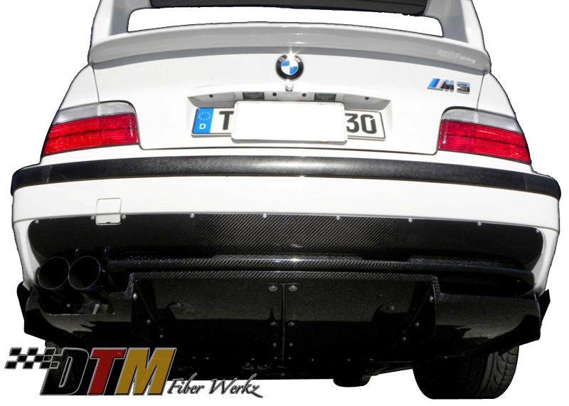 DTM Fiber Werkz BMW E36 M3 VRS Style Rear Diffuser Combo [CFRP] View 1