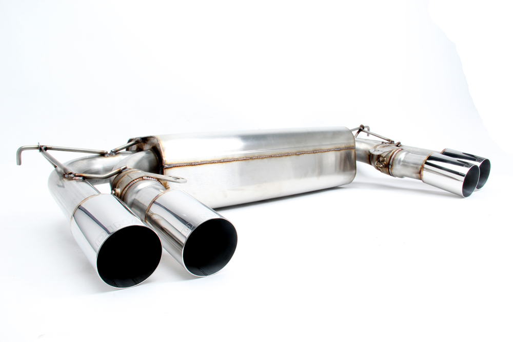 dinan free flow stainless exhaust with polished tips