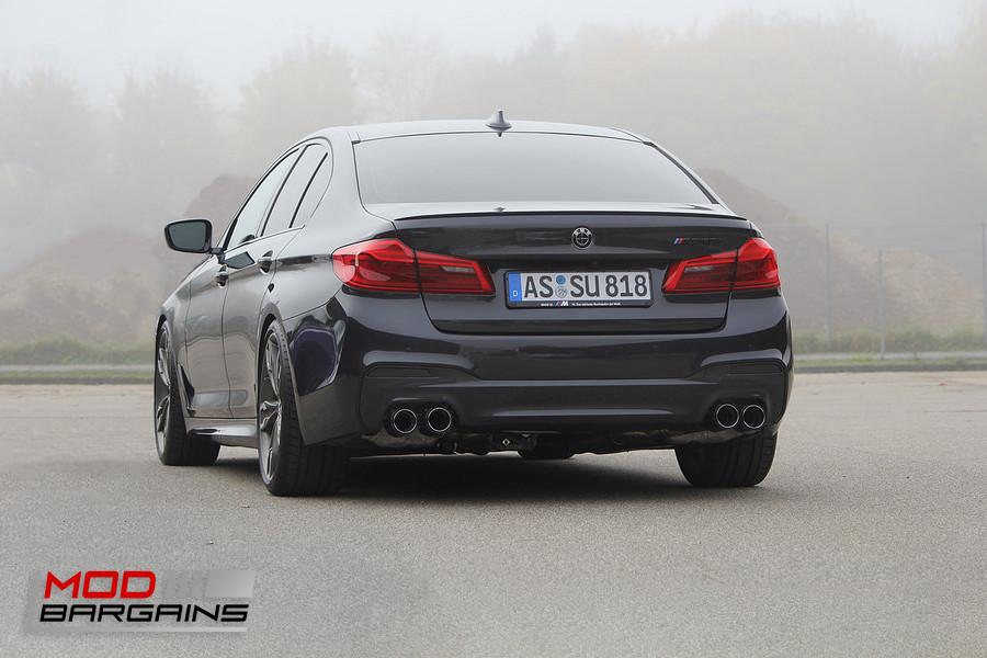 Eisenmann Performance Exhaust BMW M550i 550i xDrive Silver Black Carbon Fiber Gold Tips