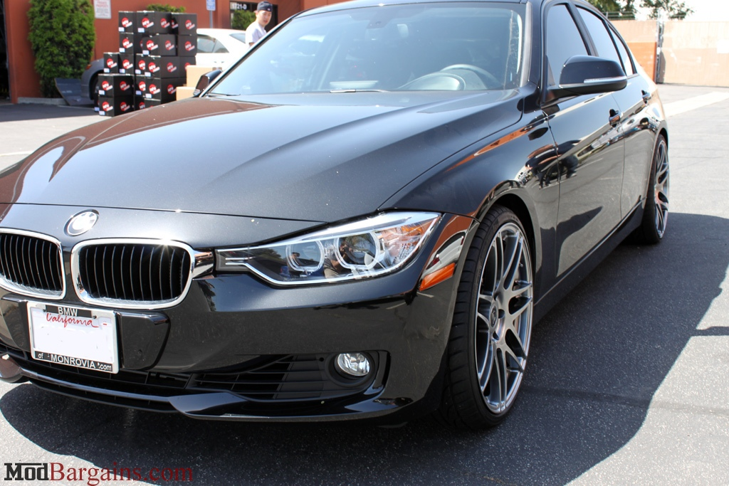 BMW F30 328i on H&R Sport Springs Forgestar F14 19in Wheels Titanium Finish Installed 2