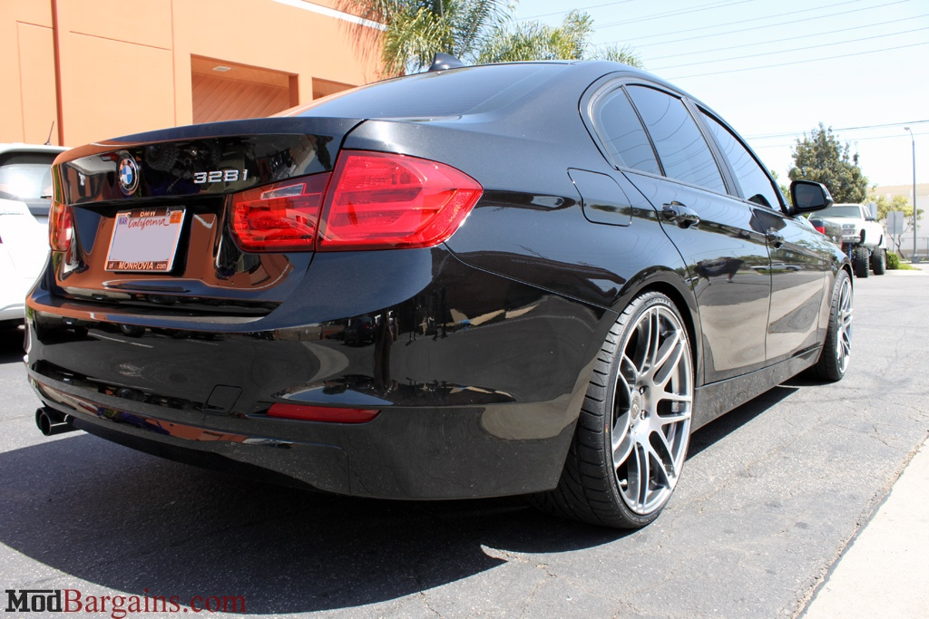 BMW F30 328i on H&R Sport Springs Forgestar F14 19in Wheels Titanium Finish Installed 4