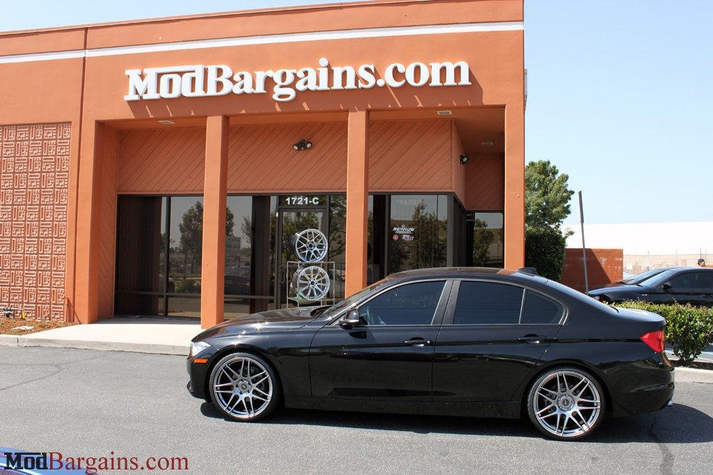 BMW F30 328i on H&R Sport Springs Forgestar F14 19in Wheels Titanium Finish Installed 3