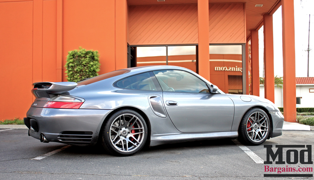 Forgestar F14 in Silver on Porsche 996 Turbo 18x8.5 18x11 at ModBargains 5