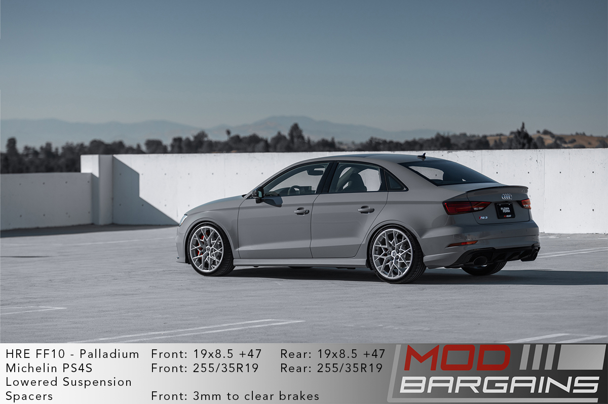 HRE FF10 Wheels on Grey Audi RS3 8V