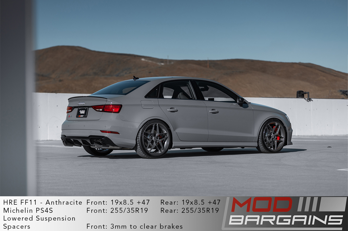 Grey Audi RS3 8V on HRE FF11 Wheels in Anthracite