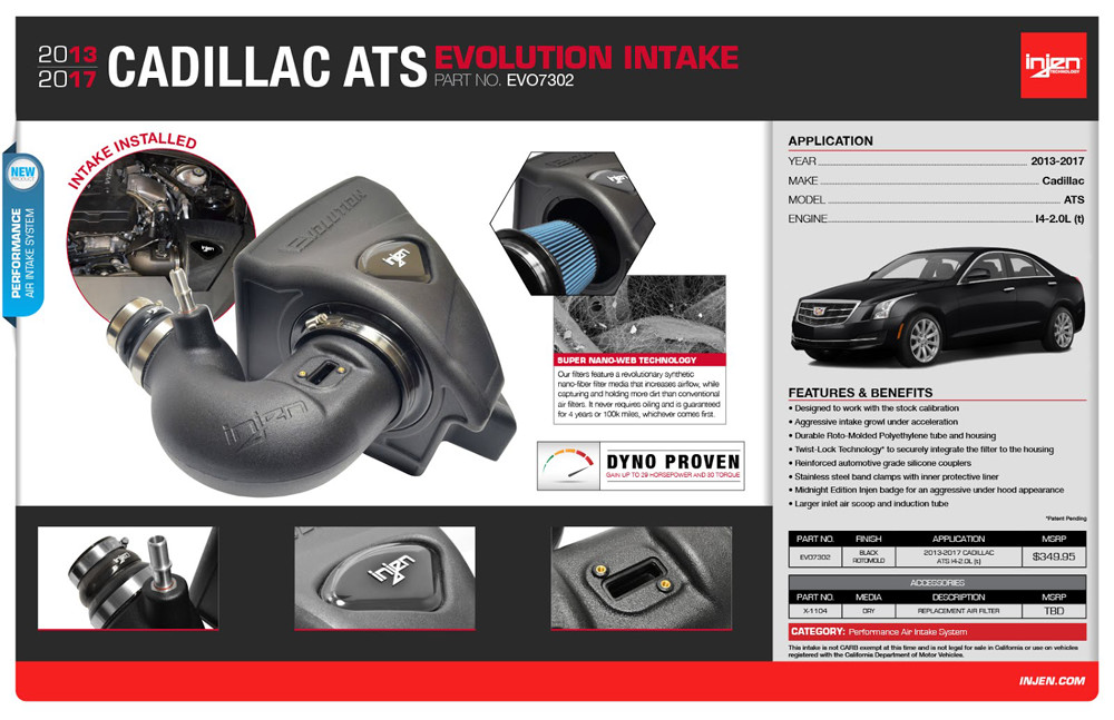 Injen 2015+ Cadillac ATS Evo EVO7302 Intake Features Benefits Infographic
