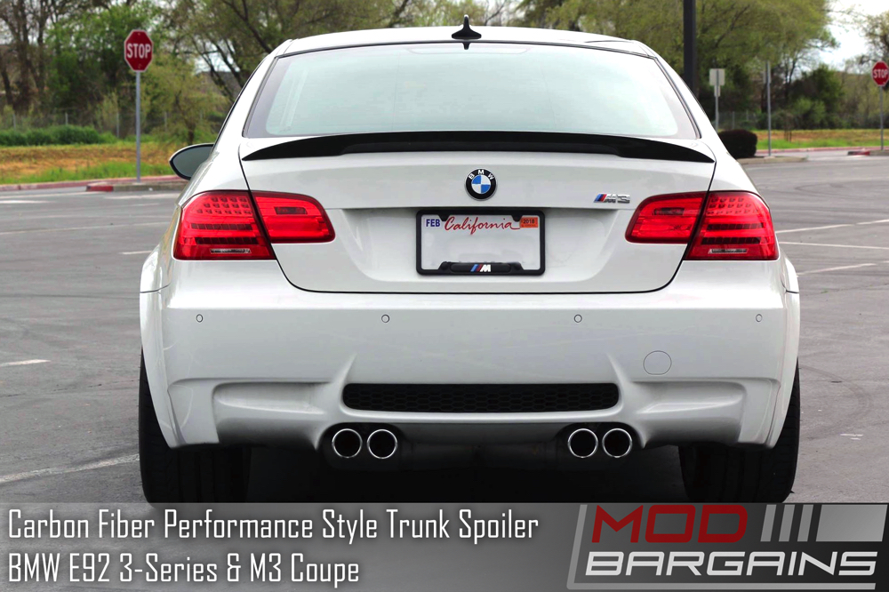 BMW E92 Carbon Fiber Performance Style Trunk Spoiler Installed On Vehicle