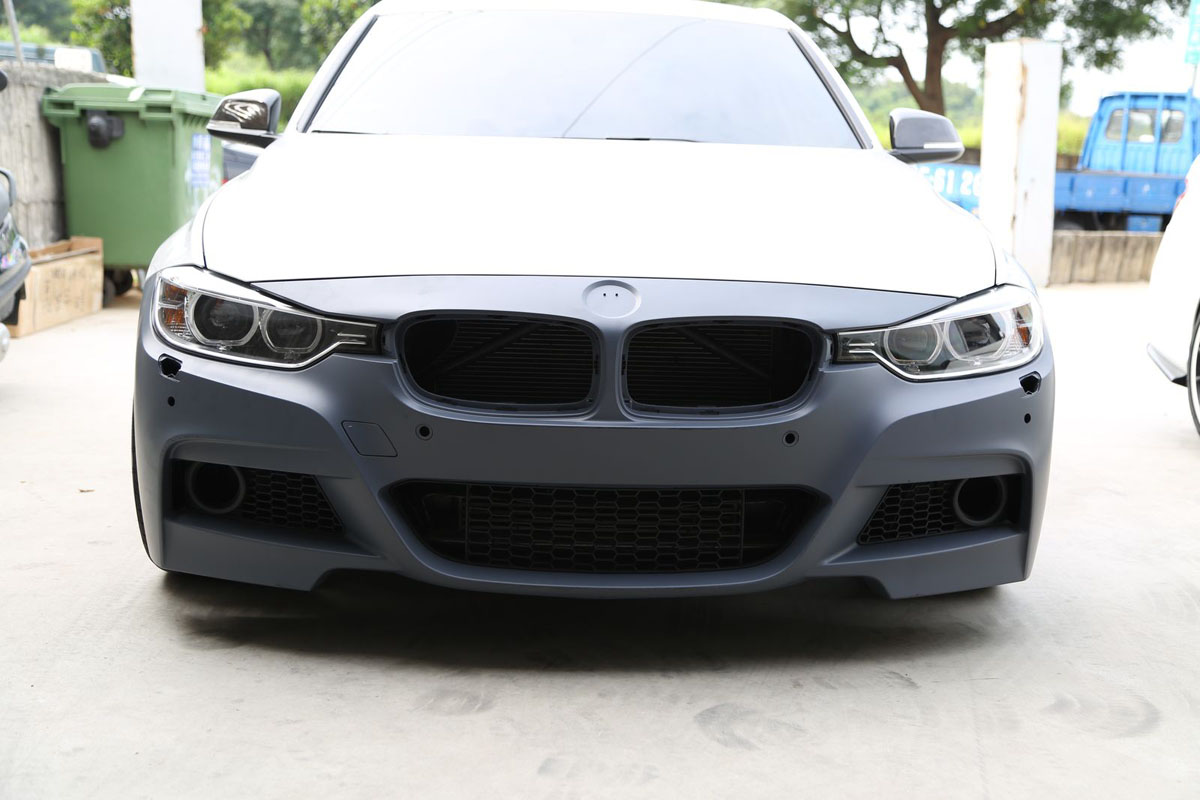 BMW F30 3-Series 2012-14 M-Sport Replacement Front Bumper Installed Bare 1