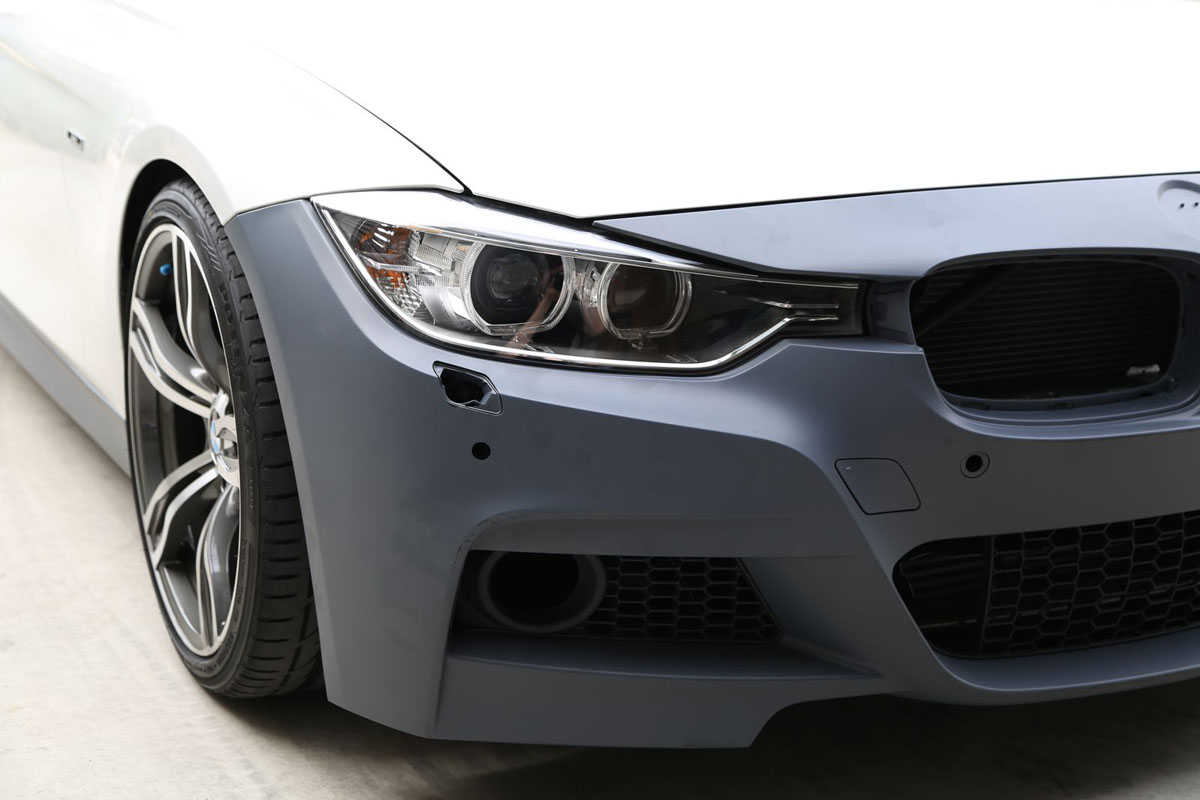 BMW F30 3-Series 2012-14 M-Sport Replacement Front Bumper Installed Bare 2