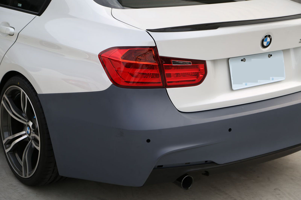 BMW F30 3-Series M-Sport Rear Bumper Installed Bare 3