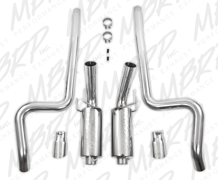 MBRP Cat-Back Exhaust for 2011-14 Ford Mustang GT 3in Tube w 4in Angled Tips View 2