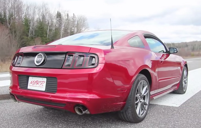 MBRP Cat-Back Exhaust for 2011-14 Ford Mustang GT 3in Tube w 4in Angled Tips Installed