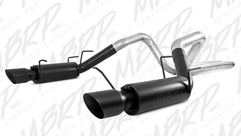 MBRP Cat-Back Exhaust for 2011-14 Ford Mustang GT 3in Tube w 4in BLACK Angled Tips View 1