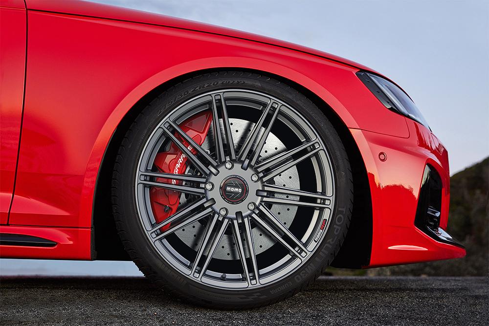 Momo RS-10S Wheels on Red B9 Audi RS4 Avant Wagon Modbargains