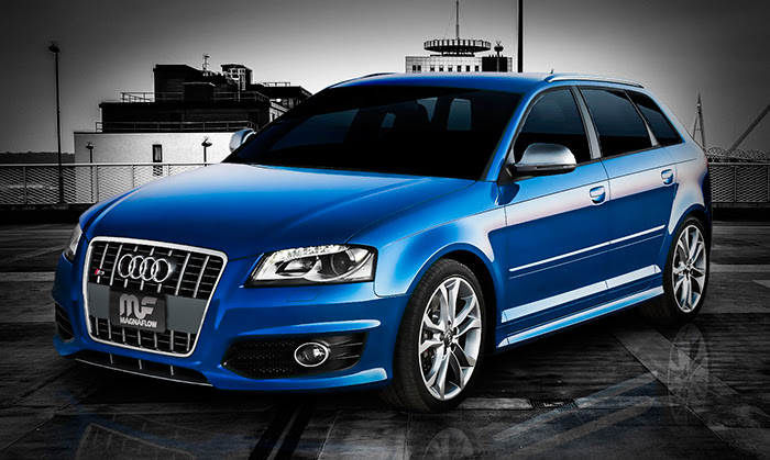 Blue Audi A3 with Magnaflow exhaust