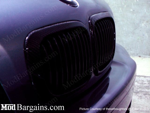 Carbon Fiber Kidney Grills for BMW E46 3 Series and M3 Sold at ModBargains.com